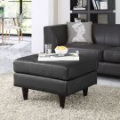 Empress Bonded Leather Ottoman in Black Product Image