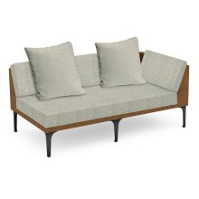 "67"" Outdoor Tan Rattan 2 Seat L-Shaped Left Sofa Sectional, Upholstered in Standard Outdoor Fabric"