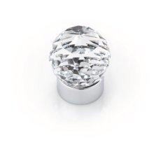 Round Swarovski Crystal Knob, Bright Chrome, 25mm Overall