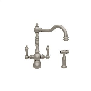 Englishhaus dual lever handle faucet (1.5gpm) with a traditional swivel spout, lever handles, and a solid brass side spray. Product Image
