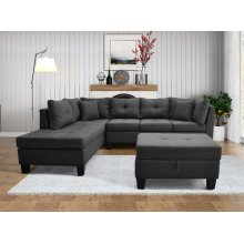 9122 Linen Fabric Sectional Sofa - Left