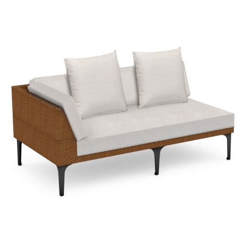 "67"" Outdoor Tan Rattan 2 Seat L-Shaped Right Sofa Sectional, Upholstered in COM"