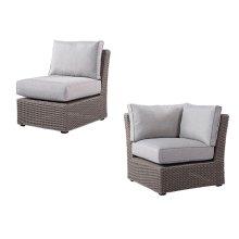 Corner Unit & Armless Chair for Modular Spuncrylic Brick Grey