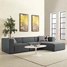 Mingle 4 Piece Upholstered Fabric Sectional Sofa Set in Gray