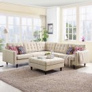 Empress 3 Piece Upholstered Fabric Sectional Sofa Set in Beige Product Image