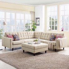 Empress 3 Piece Upholstered Fabric Sectional Sofa Set in Beige