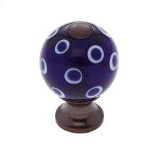 Old World Bronze 30 mm Blue Knob w/Polka Dots