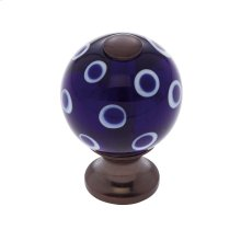 Old World Bronze 30 mm Blue Knob w/Polka Dots