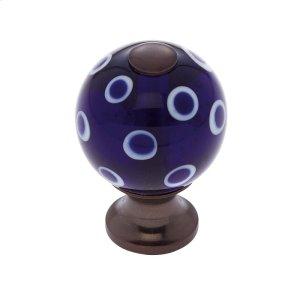 Old World Bronze 30 mm Blue Knob w/Polka Dots Product Image