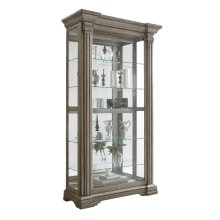 Sliding Front Display Cabinet With Gray Wash Finish