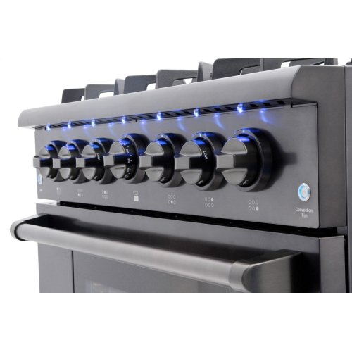 CLOSEOUT 36 Inch Professional Gas Range In Black Stainless Steel