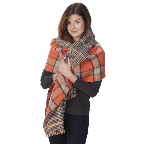 Persimmon Tartan Reversible Blanket Wrap in Gift Box.