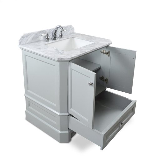 Espresso RICHMOND 30-in Single-Basin Vanity Cabinet with Carrara Marble Stone Top and Muse 18x12 Sink