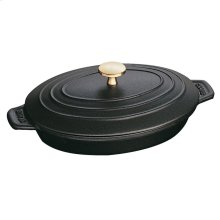 "Staub Cast Iron 9x6.6"" Oval Covered Baking Dish, Black Matte"