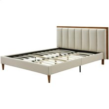 Powell KD Fabric Queen Bed Set Walnut Frame, Lark Linen