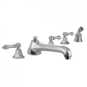 Antique Brass - Astor Roman Tub Set with Low Spout and Smooth Lever Handles and Straight Handshower Mount Product Image