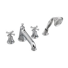 Randall Deck Mount Bathtub Faucet with Hand Shower and Cross Handles - Polished Chrome