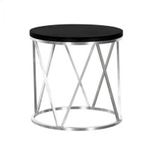 Armen Living Emerald Contemporary Round End Table in Brushed Stainless Steel with Black Ash Wood Top