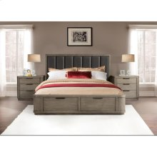 Precision - King/california King Low Upholstered Headboard - Gray Wash Finish