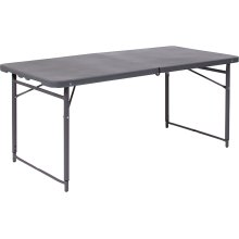 23.5''W x 48.25''L Height Adjustable Bi-Fold Dark Gray Plastic Folding Table with Carrying Handle