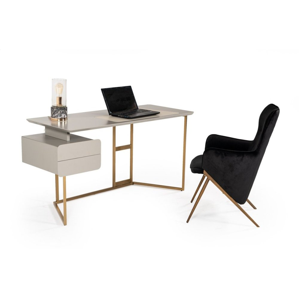 Modrest Deegan Modern Grey & Bronze Desk
