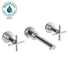 Stoic Two-Handle Wall Mount Faucet Trim Only - Cross Handles - Polished Chrome