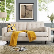 Empress Upholstered Fabric Loveseat in Beige