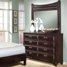 Six Drawer High Dresser with Landscape Mirror