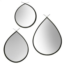 Gun Metal Tear Drop Mirror Set  Large 26in x 34in Medium 22in X 30in Small 20in X 23in  Wall Mir