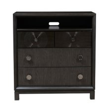 Lustrous 3 Drawer Media Accent Chest in Silver Grey