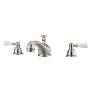 Marsala Widespread Lavatory Faucet with Porcelain Lever Handles - Brushed Nickel Product Image