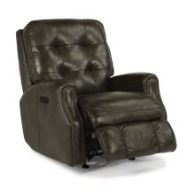 Devon Leather Power Rocking Recliner with Power Headrest and Nailhead Trim