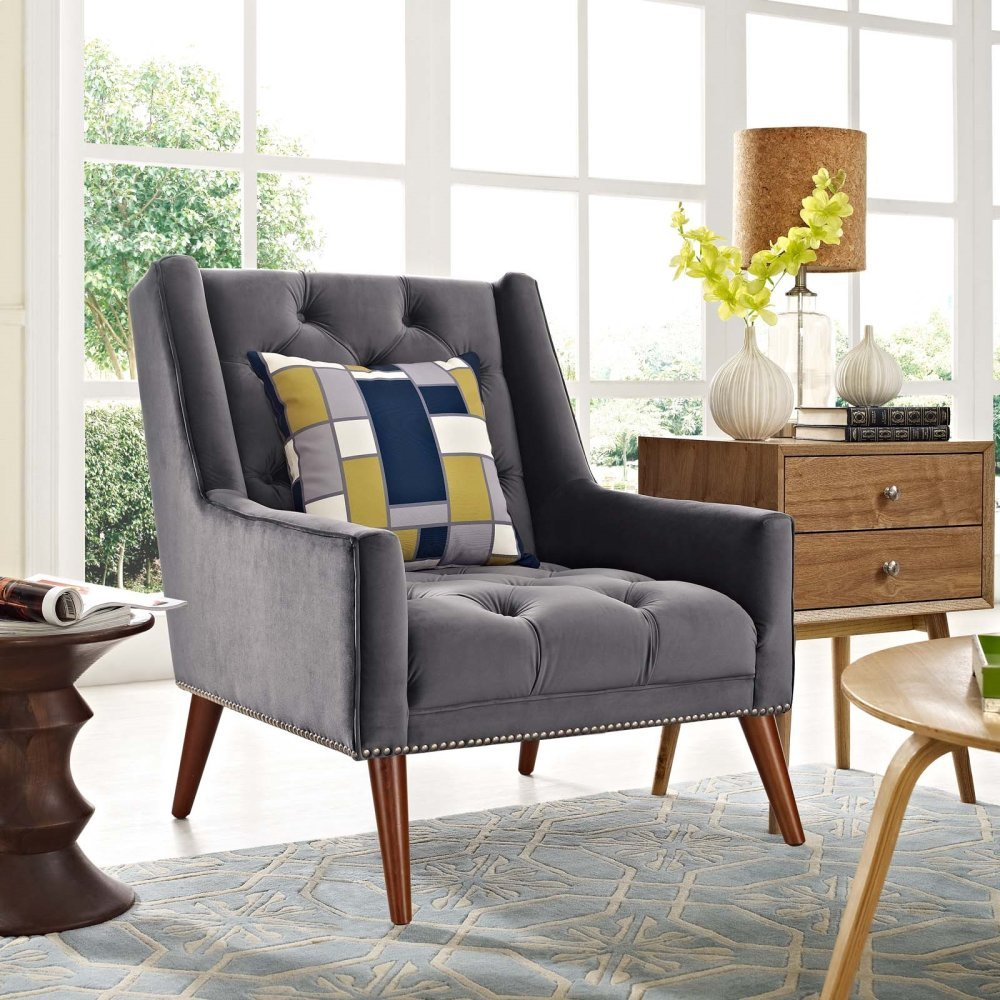 Peruse Velvet Armchair in Gray