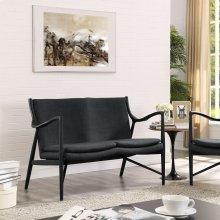 Makeshift Upholstered Fabric Loveseat in Black Gray