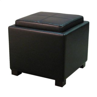 Venzia Bonded Leather Square Ottoman, Black
