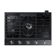 "30"" Gas Cooktop with 22K BTU Dual Power Burner in Black Stainless Steel"