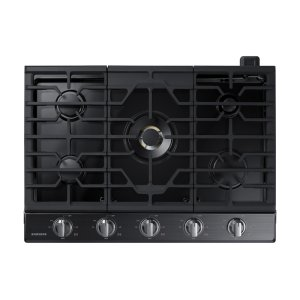 "30"" Gas Cooktop with 22K BTU Dual Power Burner in Black Stainless Steel Product Image"