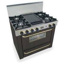 "36"" All Gas Range, Open Burners, Black with Brass"