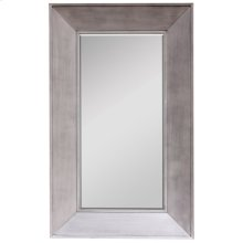 BLAKELY FLOOR MIRROR  Silver Finish on Wood Frame  Plain Glass Beveled Mirror