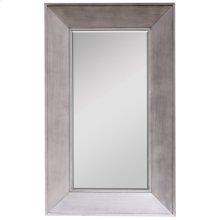 BLAKELY FLOOR MIRROR  Silver Finish on Wood Frame  Plain Glass Beveled Mirror