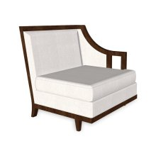 """29"""" Walnut & Dark Grey Rattan Left One-Seat Sofa Sectional, Upholstered in COM"""