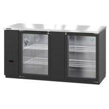 HBB-3G-LD-69, Refrigerator, Two Section, Black Vinyl Back Bar Back Bar, Glass Doors