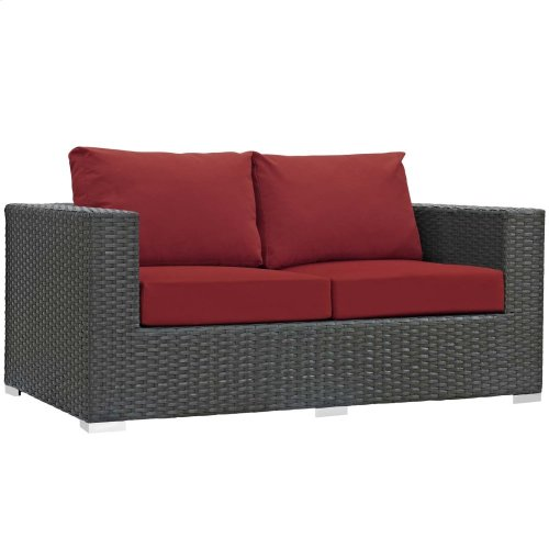 Sojourn Outdoor Patio Sunbrella® Loveseat in Canvas Red