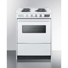 "Slide-in Electric Range In Slim 24"" Width With White Porcelain Construction and Oven Window"