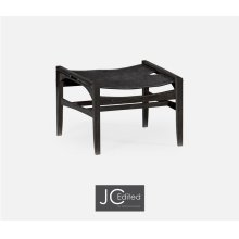 Midcentury Style Slung Black Leather & Black Mocha Oak Stool or Footstool