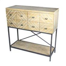 Wooden 8-drawer Chest W/ Metallegs, Natural Kd