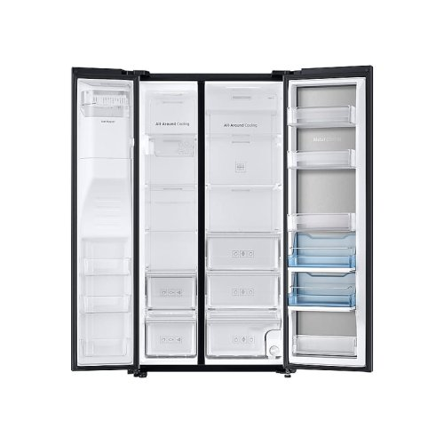 22 cu. ft. Food Showcase Counter Depth Side-by-Side Refrigerator with Metal Cooling in Black Stainless Steel