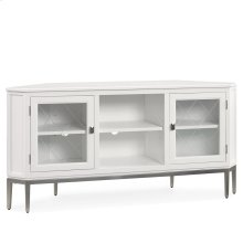 """White 57"""" Corner TV Console with Pewter Metal Base and Smoke Gray Interior #85388"""