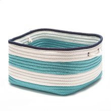 "Nautical Stripe Basket AU31 Turquoise Navy 14"" X 10"""