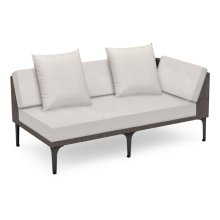 "67"" Outdoor Dark Grey Rattan 2 Seat L-Shaped Left Sofa Sectional, Upholstered in COM"